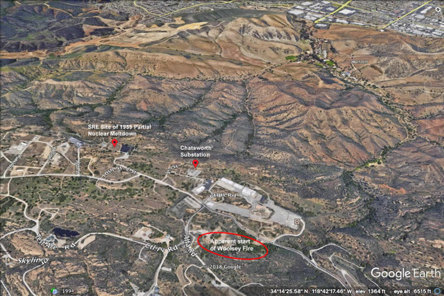 Santa Susana map showing location of fire commencement 11-27-2018